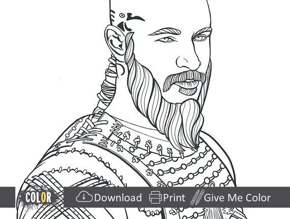 Vikings Tv Show Ragnar Lothbrok King Ragnar Draw To Color