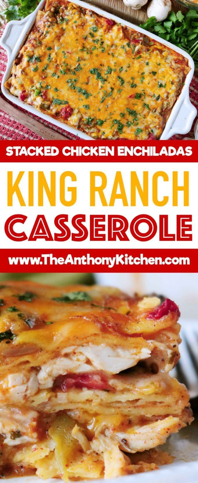 Stacked Enchilada Casserole   King Ranch Casserole   A recipe for the best King Ranch Casserole ever!  A famous Texas-born, stacked enchilada casserole featuring shredded chicken, corn tortillas, hearty vegetables, cheese, and a creamy Tex-Mex sauce   #casserolerecipes #chickendinner #stackedenchiladas #familydinner