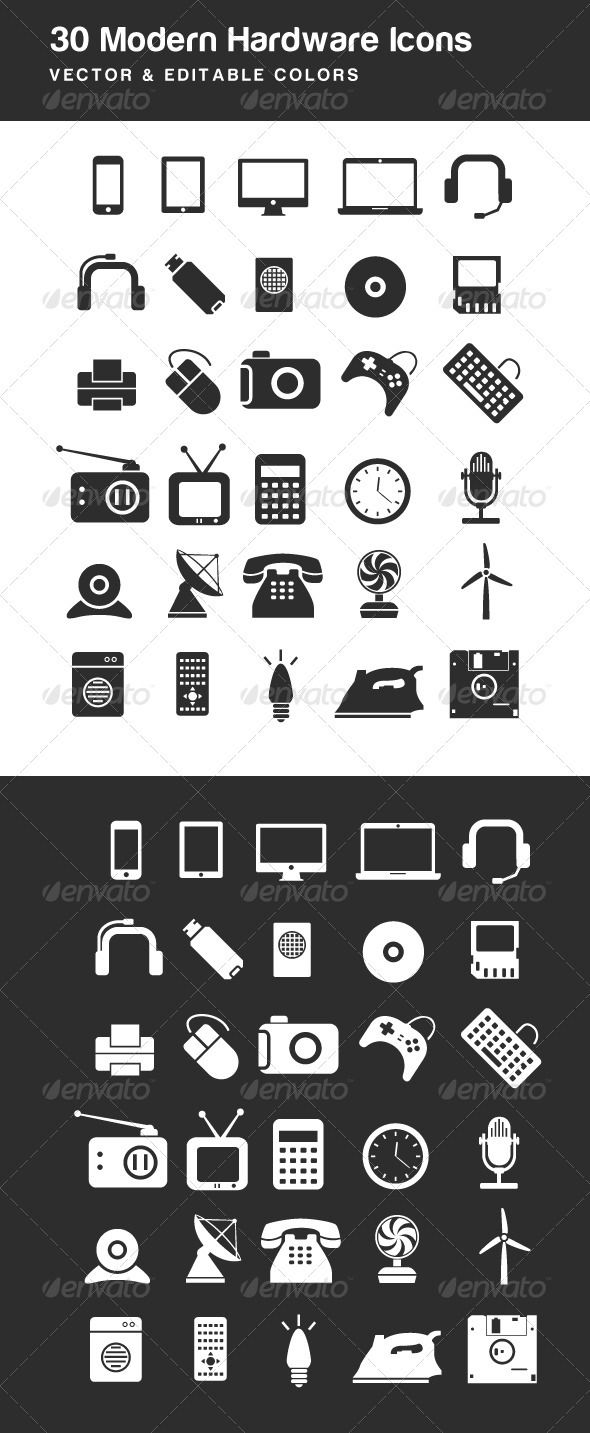 Modern Electric Hardware Icons - Technology Icons #icon #icons #design #webdesign #graphicdesign #modern #style #technology