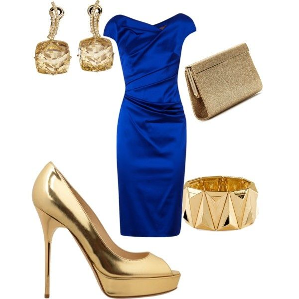 royal blue dress and gold earrings shoes braclet clutch