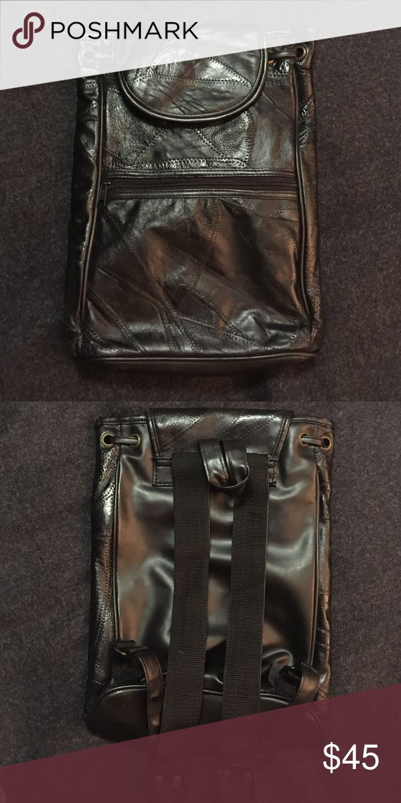 Black Faux Leather Backpack Brandless black faux leather backpack/bag. Small and lightweight. Great for festivals! Bags Backpacks