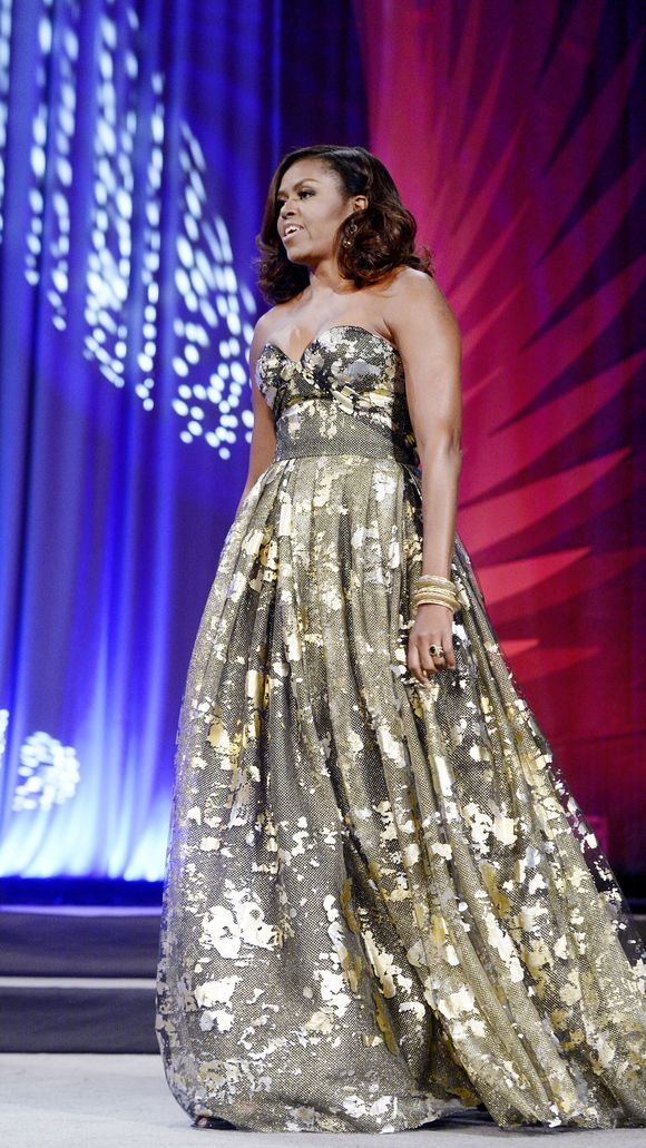 Michelle Obama in a Naeem Khan gown.