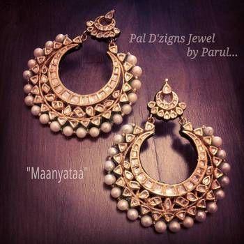 Gold and pearl hoop earrings