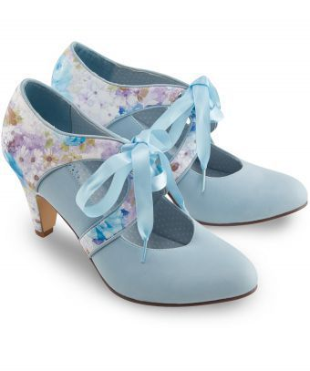 From weddings to work, these dreamy pastel blue heels will bring breezy elegance to any outfit. Complete with soft floral panelling and a pretty ribbon tie. Heel height: 8.5cm