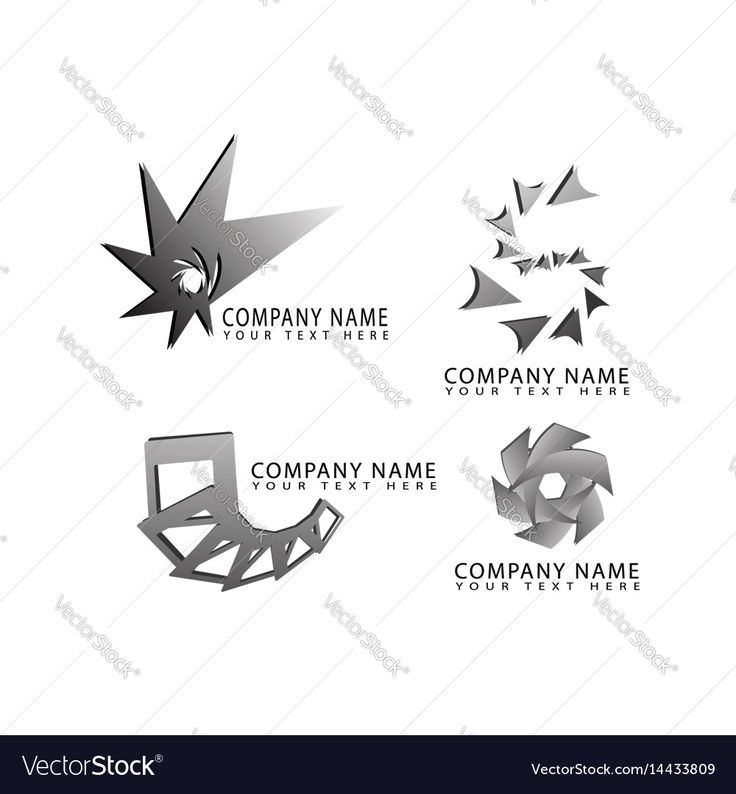 Abstract star square cube flower logo symbols Vector Image by NiMa_Design