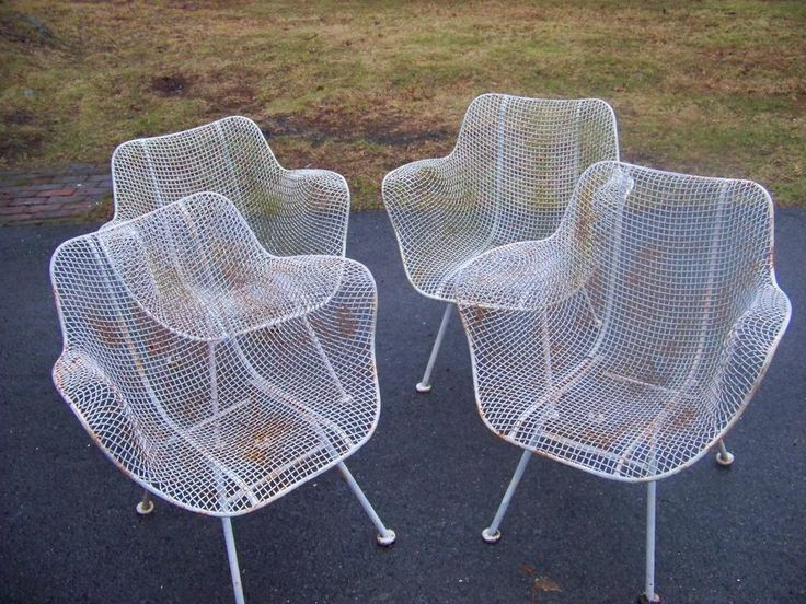 4 Russell Woodard Patio Chairs Sculptura Wire Patio Arm Chairs MidCentury  1960