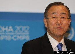 United Nations Secretary General Ban Ki-moon attends the 18th United Nations Convention on Climate Change on December 4, 2012 in the Qatari capital Doha. UN chief Ban Ki-moon urged negotiators at global climate talks in Doha to show 'strong political commitment' to reducing earth-damaging greenhouse gas emissions. AFP PHOTO / AL-WATAN DOHA / KARIM JAAFAR