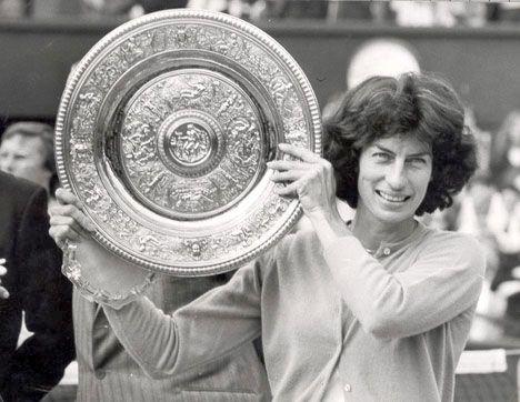 Virginia Wade holding Wimbledon Championships Singles Trophy, winner 1977