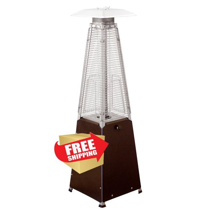 """39"""" Radiant Heat Glass Tube Tabletop Patio Heater in Hammered Bronze"""