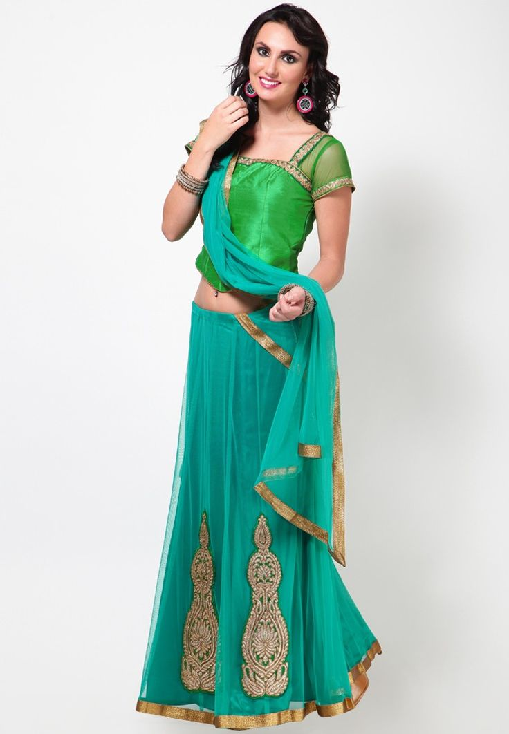 Green Raw Silk Corset Choli with Net Sleeves, Blue Kalidar Ghagra with Gold Motif and Gold net Dupatta at $209.00 (24% OFF)