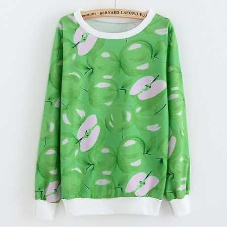 3D green apple sweatshirt for girls lifelike fruit sweatshirts