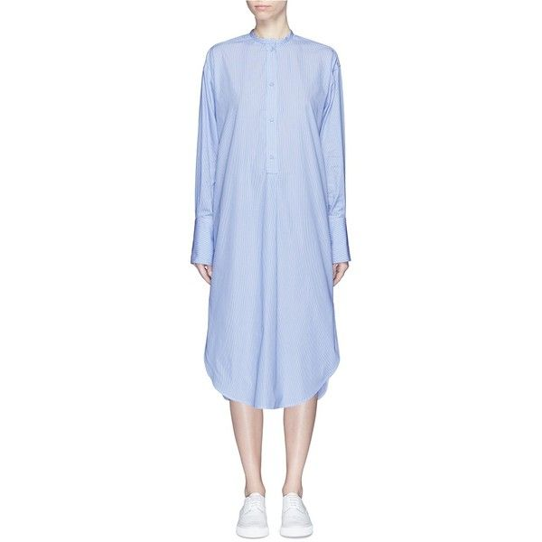 Ports 1961 Stripe cotton poplin shirt dress (61.075 RUB) ❤ liked on Polyvore featuring dresses, blue, going out dresses, blue dress, striped shirt dress, blue party dress and blue shirt dress