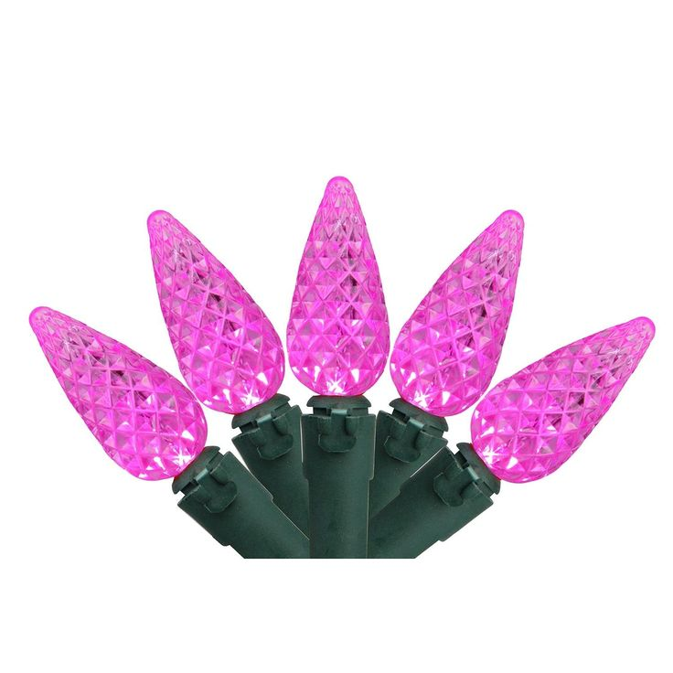 Set of 70 Pink LED Faceted C6 Christmas Lights - Green Wire
