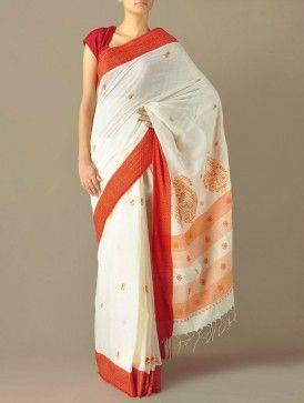 Ivory & Red Border Jaalidar Kairi Pallu Handloom Cotton Saree