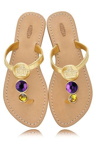 LSU Tigers Ladies Jewel Embellished Flat Sandals