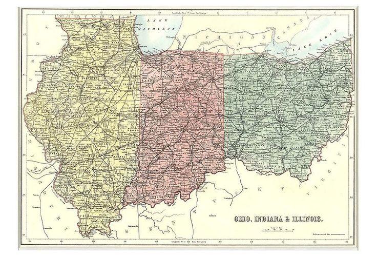 Map Of Ohio Indiana Amp Illinois 1879  Products Indiana
