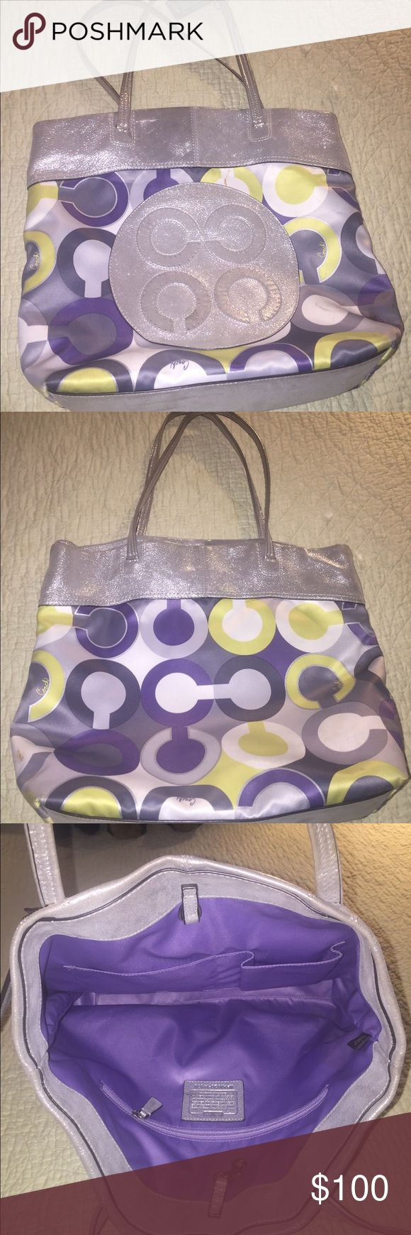 Coach tote bag Purple, green and silver coach tote bag! Used with a stain on the front (pictured). Loved, but no longer use. Open to trades. Coach Bags Totes