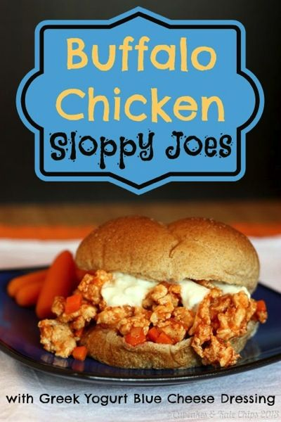 Buffalo Chicken Sloppy Joes - get your spicy Buffalo kick in a healthier and fun way that even the kids will love | cupcakesandkalechips.com #buffalochicken #sloppyjoes