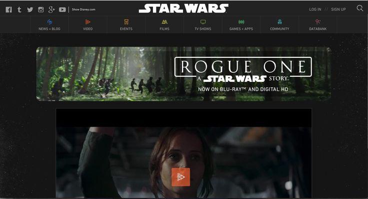 http://www.starwars.com/rogue-one Er valt veel te zien op de website en deze dingen zijn makkelijk terug te vinden. De kleuren van de film komen erin terug, in het tabblad is er zelfs een icoontje van een personage uit de film.