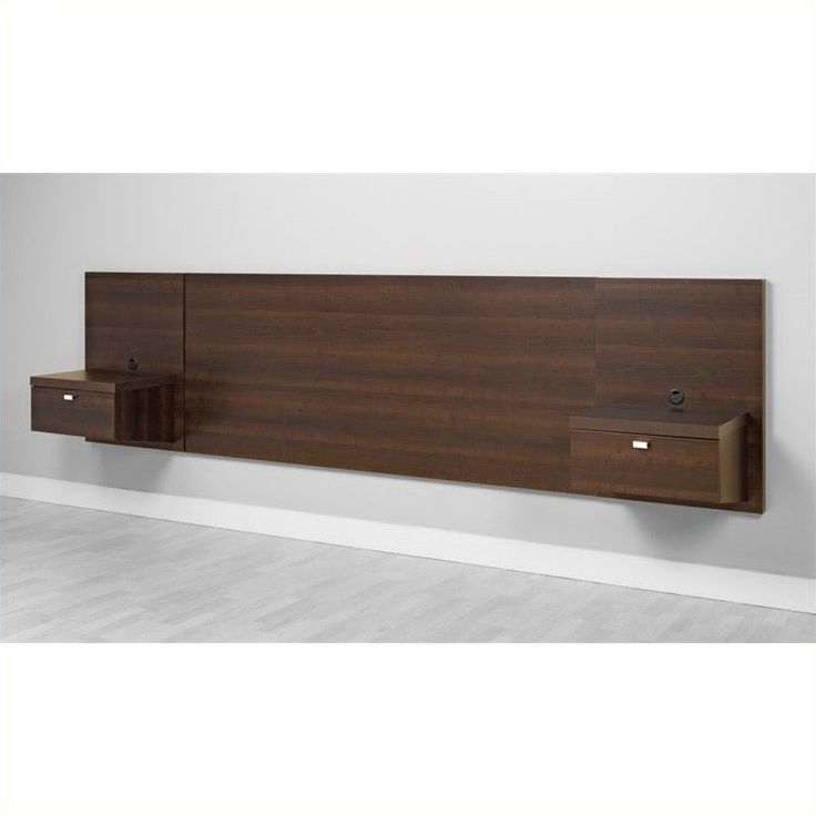 Floating headboard, add cords for charging station Prepac Series 9 Platform Storage Bed with Floating Headboard in Espresso