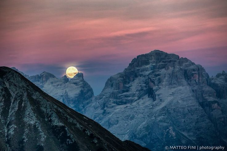 The last full moon of summer. Place: top of Dolomites, 2,200 mt