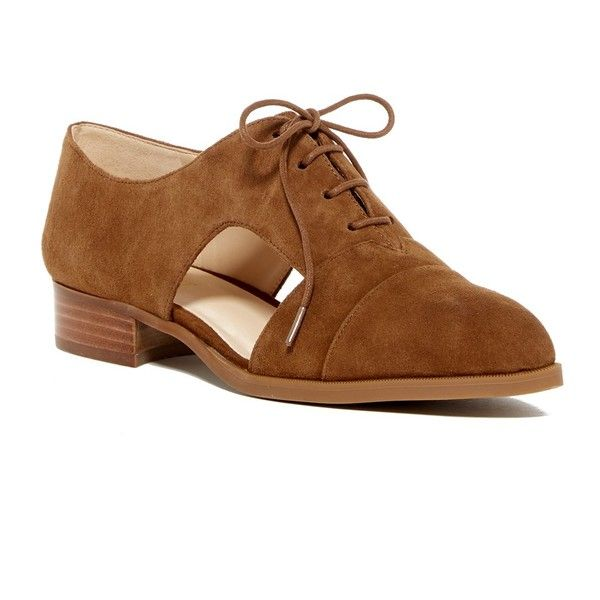 Nine West Suede Cut-Out Lace Oxford ($50) ❤ liked on Polyvore featuring shoes, oxfords, brown su, lace up shoes, laced up shoes, brown suede shoes, brown shoes and cap toe oxford