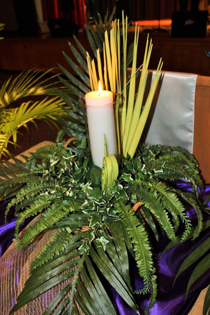Altar Centerpiece #Palm #Centerpieces #ChurchCenterpieces #UnitedFaithChurchBarnegatNJ www.unitedfaithchurch.org
