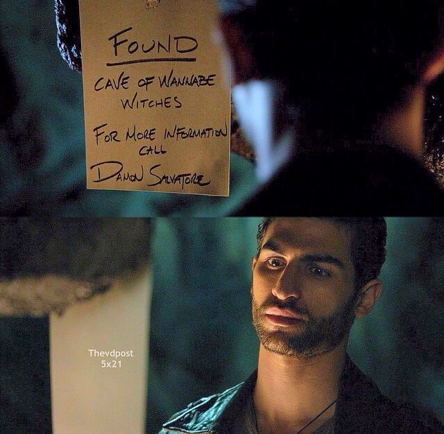 """S5 Ep21 """"Promised Land"""" I love how Damon wrote wannabe witches, lol :)"""
