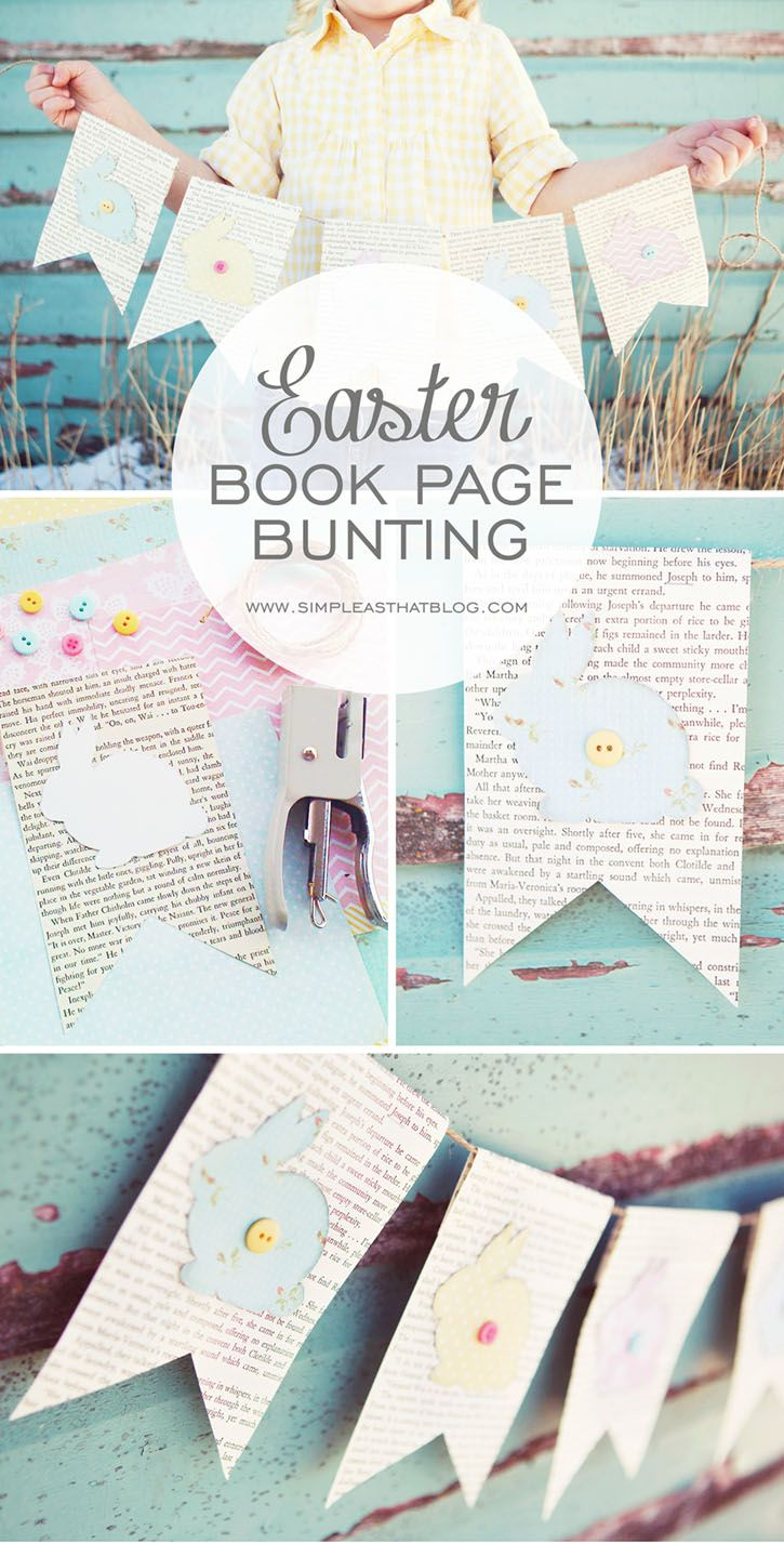 Easter Book Page Bunting. Cute Easter decor!