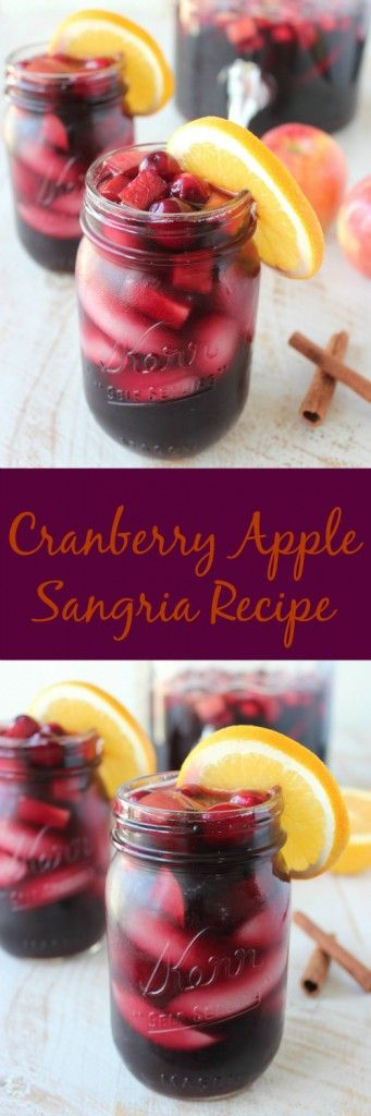 Grab a couple bottles of Tempranillo Wine, mason jars & the Savannah Drink Dispenser from #WorldMarket to whip up this Cranberry Apple Sangria Recipe for the holidays! It's the perfect cocktail for Thanksgiving, Friendsgiving or Christmas! #WorldMarketTribe
