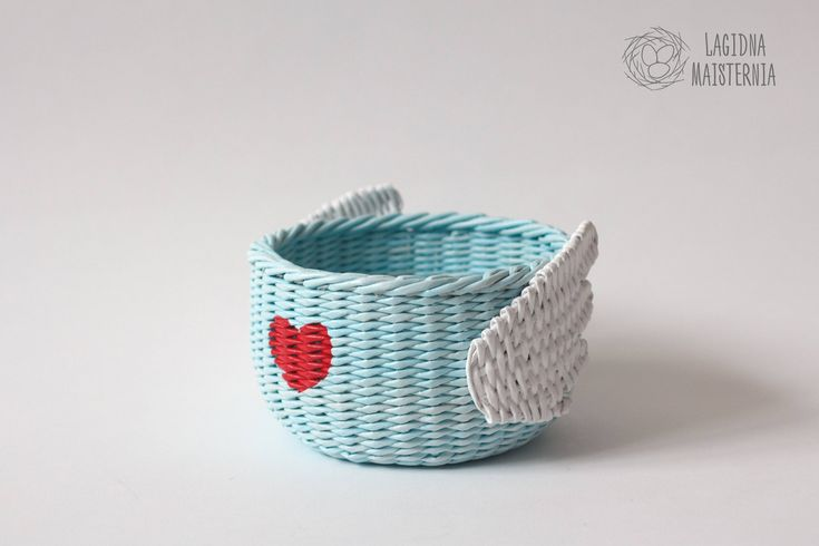 Valentines gift for mom Blue nursery storage bowl with wings Valentines basket for storage Kawaii box Cute wicker bowl Cartoon home decor light blue basket woven storage wicker bin