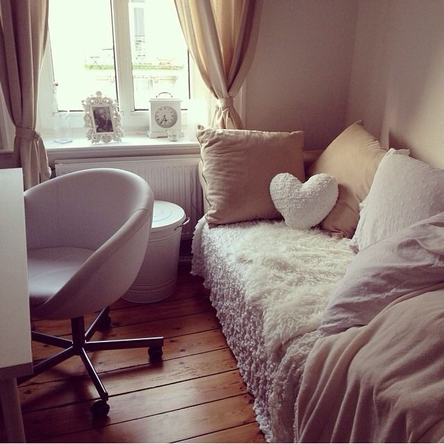 The Ikea stuff - throw blanket + faux sheepskin + chair. I need a work table, note to self. #HomeDecor.