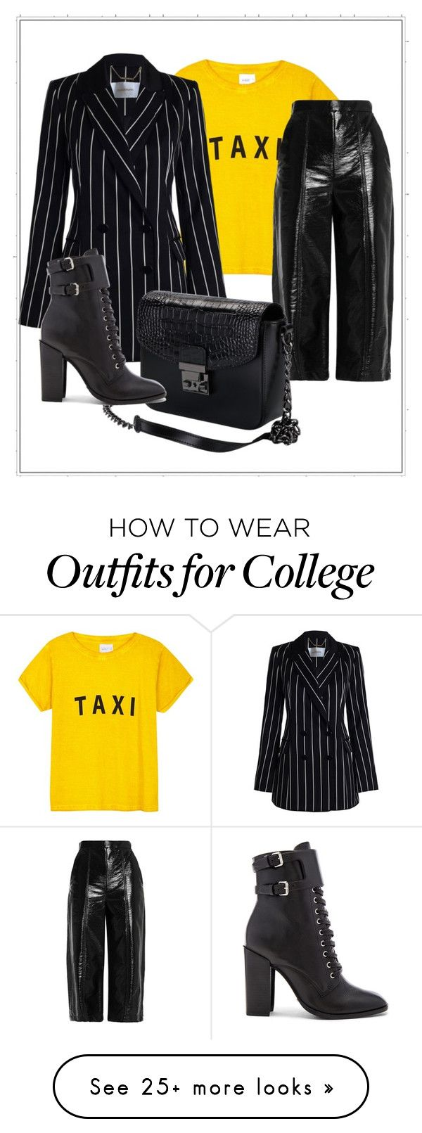 """""""Black and yellow"""" by humbertmonica on Polyvore featuring Compañia Fantastica, Zimmermann, MSGM and Schutz"""
