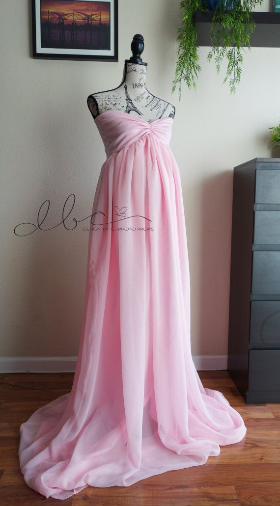 Vanessa pink chiffon maternity gown with by designbycboutique