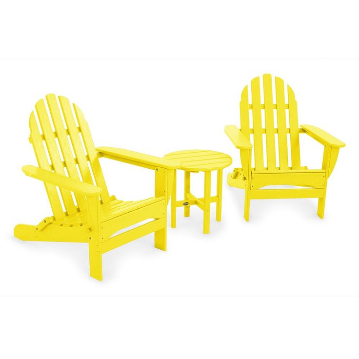 POLYWOOD 3-pc. Classic Folding Adirondack Chair and Table Set - Outdoor, Yellow