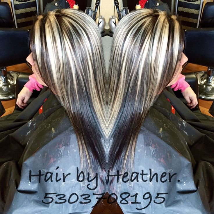 Dark Brown With Chunky Platinum Highlights Hair By