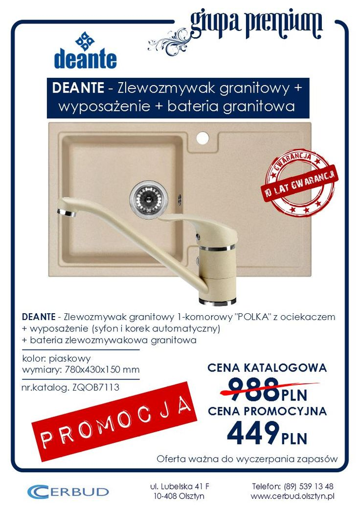 DEANTE - Zlewozmywak granitowy_POLKA_+wyposażenie+bateria_piaskowy