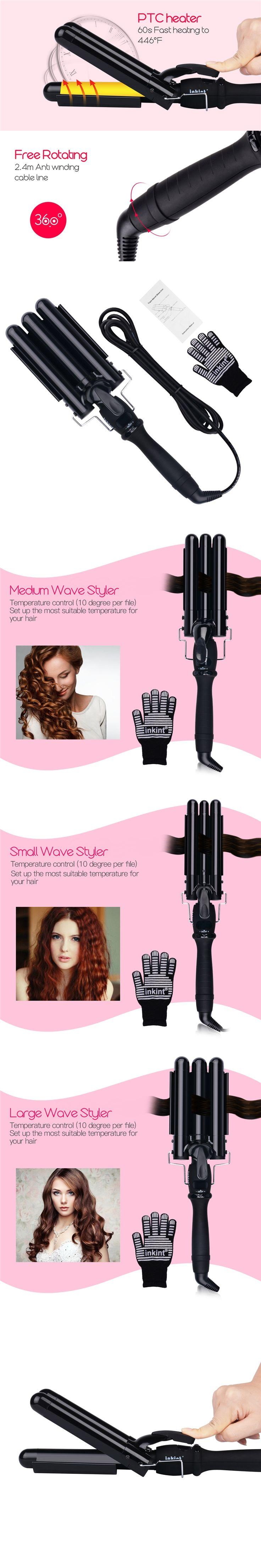 3 size LCD Ceramic Triple Barrels Deep Wave Crimper Hair Curler Waver Electric Curling Iron Salon Anion Curls Hair Styler Tool 0