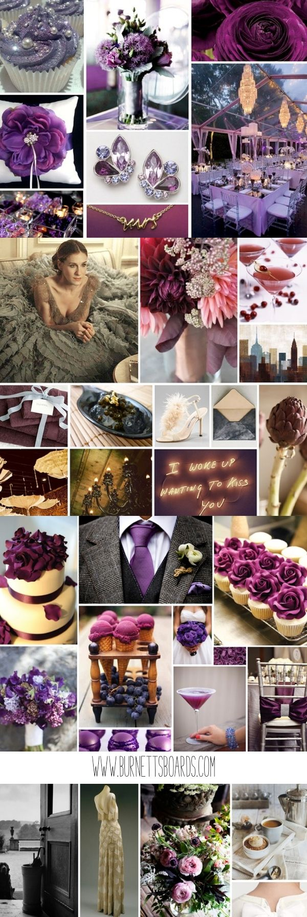 purple wedding inspiration from www.burnettsboards.com: I really like the purple signature cocktail for your guests... we could call it the Zaclyn :)