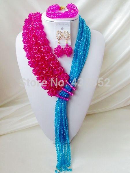Удивительно! фуксия Розовый Бирюзовый Синий Кристалл Бижутерия Указан Нигерийские Свадебные Африканские Бусы Комплект Ювелирных Изделий Бесплатная доставка NC1378