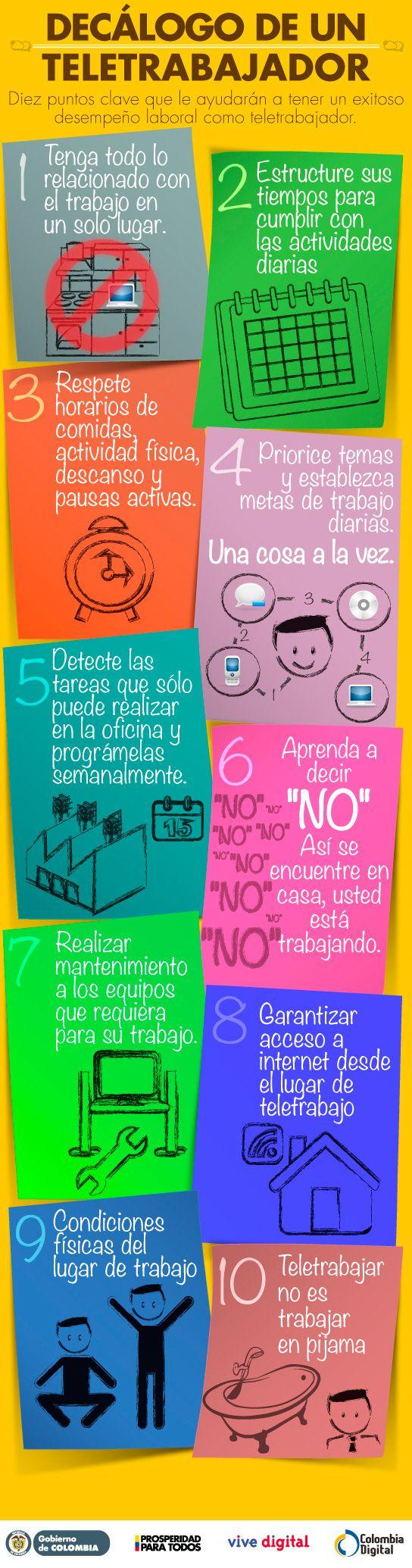 10 consejos para un teletrabajador #infografia #infographic #empleo