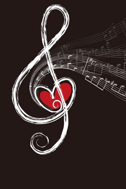 Notas musicales y corazón