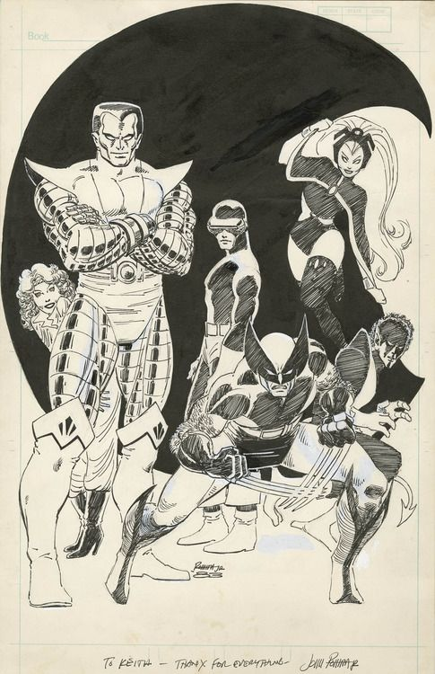 X-Men sketched by John Romita, Jr. at the beginning of his first run on the Uncanny X-Men in 1983.