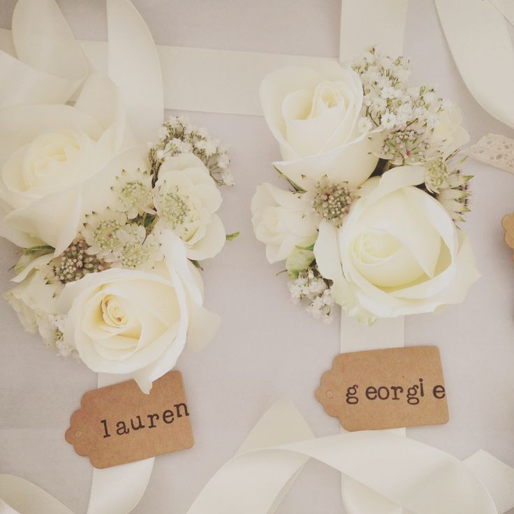 Ivory Rose, Astrantia & Baby's Breath wrist corsages by Rose Cottage Flowers