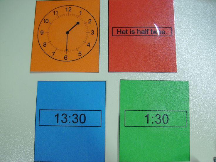 KLOK-KWARTET. De kinderen maken een kwartet met 4 verschillende kleuren die horen bij een bepaald tijdstip bijv. Half 2. De oranje kaart toont de analoge klok, de rode kaart toont het tijdstip zoalsje het verwoordt, het blauwe toont de digitale notatie PM, de groenen de digitale notatie AM. In het spel zitten verschillende kwartetten rond verschillende tijdstippen.