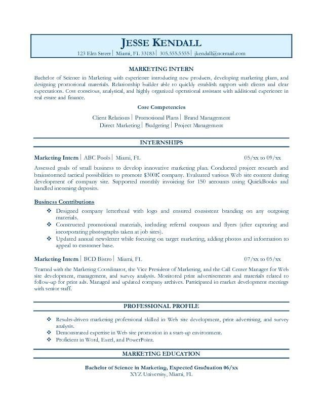 internship resume template free download intern objective examples job format for student