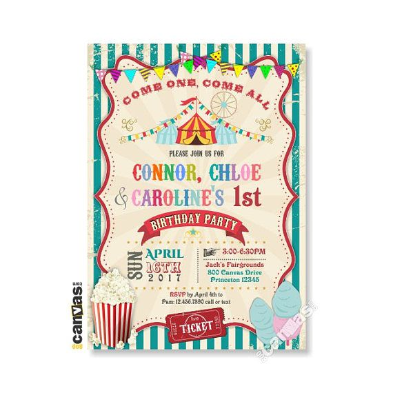circus theme party invitation girl boy