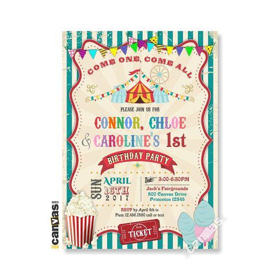 circus theme party invitation girl boy