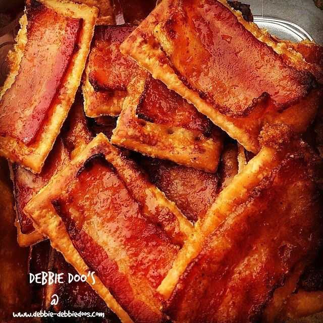bacon crackers~ Townhouse butter crackers 1 package of bacon Brown sugar Cayenne pepper