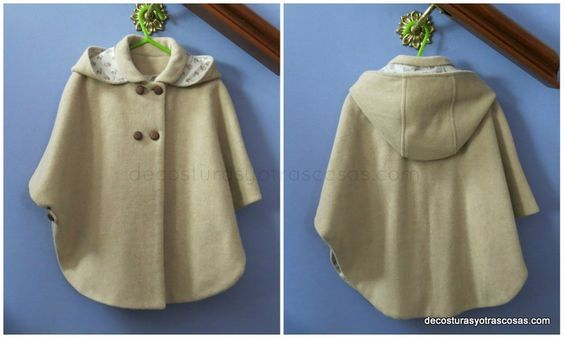 Capa   Tutorial for Removable Hood for a Girl's Cape   Pattern for sizes 2, 3 and 8 included: Cabos Niñas